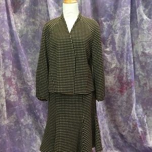 Polka Open Swing Style Puffed Cuff Skirt Suit